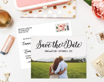 Lettered Save the Date Photo Postcard