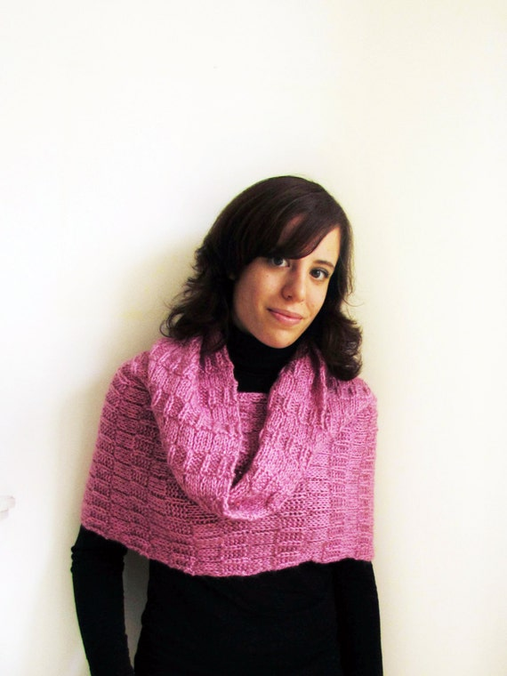 Pink handknit cowl in mohair, wool and acrylic blend with sequins