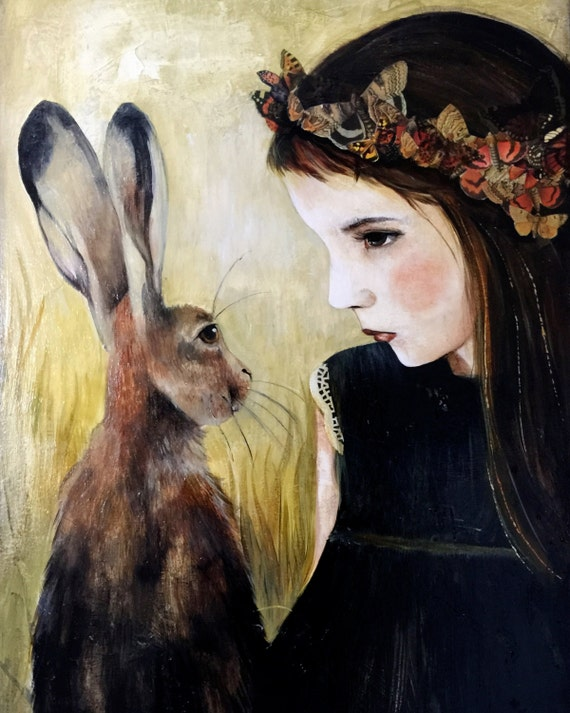 Girl with hare art print