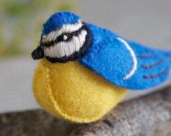 Baxter Bluetit Sewing Pattern – DIY embroidery sewing pattern for bird softie – Bluebird soft toy tutorial