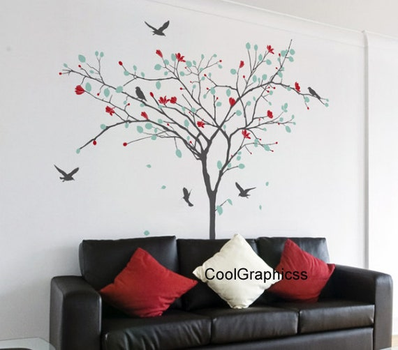 wall decal birds branch wall decals child nursery wall sticker wall decor home decor wall art wall mural - Tree and flowers