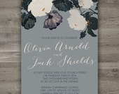 Romantic Floral Wedding Invitations, Printable Wedding Invitations