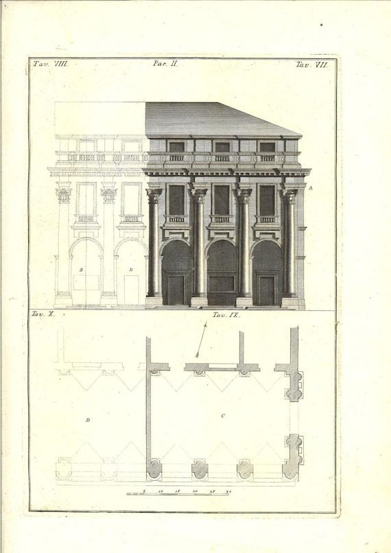 1760 antique architectural print loggia del capitaniato Printing architectural drawings