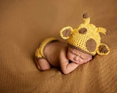 Adorable Infant Giraffe Crocheted Diaper Cover and Hat set | baby photography | New mom | baby Shower | Crocheted Animal | USA Made