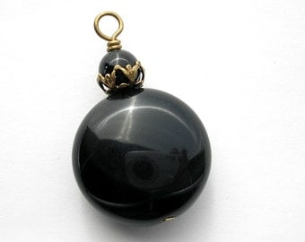 Black Obsidian Pendant with Antiqued Brass Embellishments