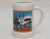 Beer Stein: Budweiser - North Carolina - 1991 - Ceramic Mug, Gift for Him, Lighthouse, Basketball, Fishing, Carolina on My Mind, Collectible