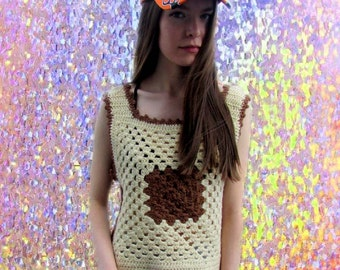 Crochet Chunky Knit Boxy Bohemian Grunge Brown Cream Tank