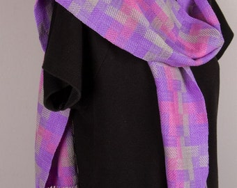 Hand woven merino scarf in pastel checks which has been hand dyed