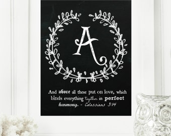 "Instant ""Family Monogram Scripture"" Chalkboard Wall Art Print 8x10 Typography Letter ""A"" Printable Home Decor, & Binder Cover"