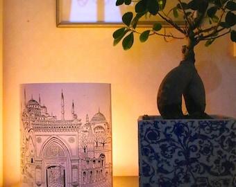 LARGE TURKISH Illuminated Paper lantern Originally Hand Drawn - just add candle