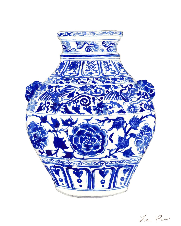 blue and white ginger jar vase no 4 original watercolor 8 x. Black Bedroom Furniture Sets. Home Design Ideas