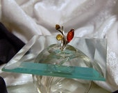Vintage Tri Color Amber Ring - SZ 8 1/2 - 925 - Sterling Silver- Green, Gold & Brown Amber