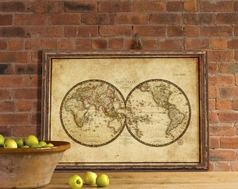 Antique map of the world - Old map of the world  print - Fine giclee reproduction - Wall map of the world
