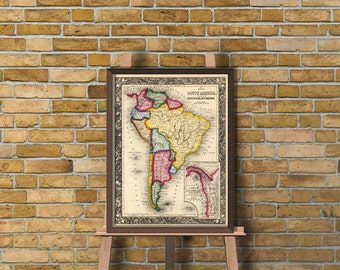 South America map  - Old map of South America - Archival print