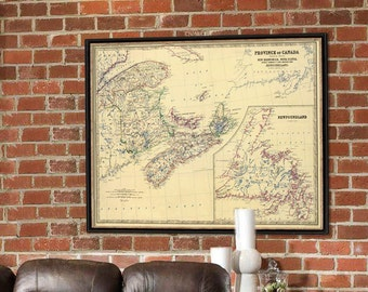 Map of New Brunswick - Newfoundland map - Archival print