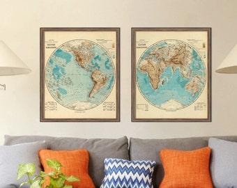 Map of Western Hemisphere -World map print -  Wonderful  wall decor - Restored map - Fine print
