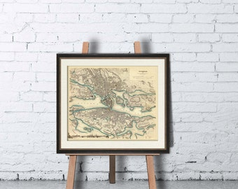 Stockholm map - Antique  map - Antique Stockholm  city map print - Fine reproduction