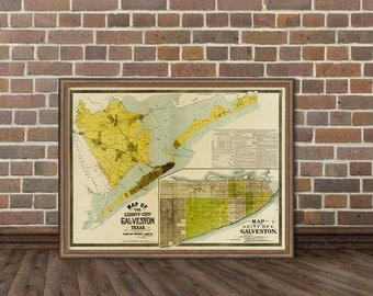 Old map of  Galveston city - Galveston county map -  Fine reproduction