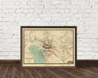 Vintage map of Lyon - Plan de Lyon - Old map of Lyon print - Fine print