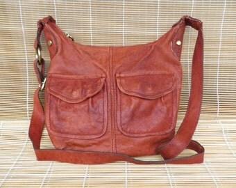 Vintage Lady's Red Leather Shoulder Strap Bag Purse