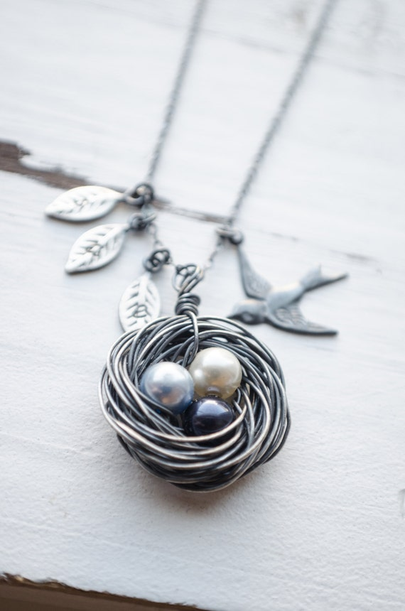 Handcrafted Black Birds Nest Necklace | Customize Number of Eggs and Leaves