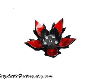 Large Cyber Flower in Shiny Iridescent Red Mirror and Black PVC Spiky Studded Hairpiece Gothic Industrial Hair Clip