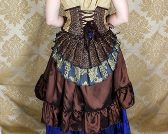"ON SALE!  New Longer Pattern 2 Tier Bustle Belt Overskirt - Sz. XS/S - Dark Blue, Brown, Wheat, & Gold - Fits up to 45"" Waist"