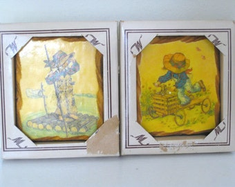 Vintage Wall Plaque - Set of (2) - Holly Hobbie - 1970's - Retro Litho Wall Art