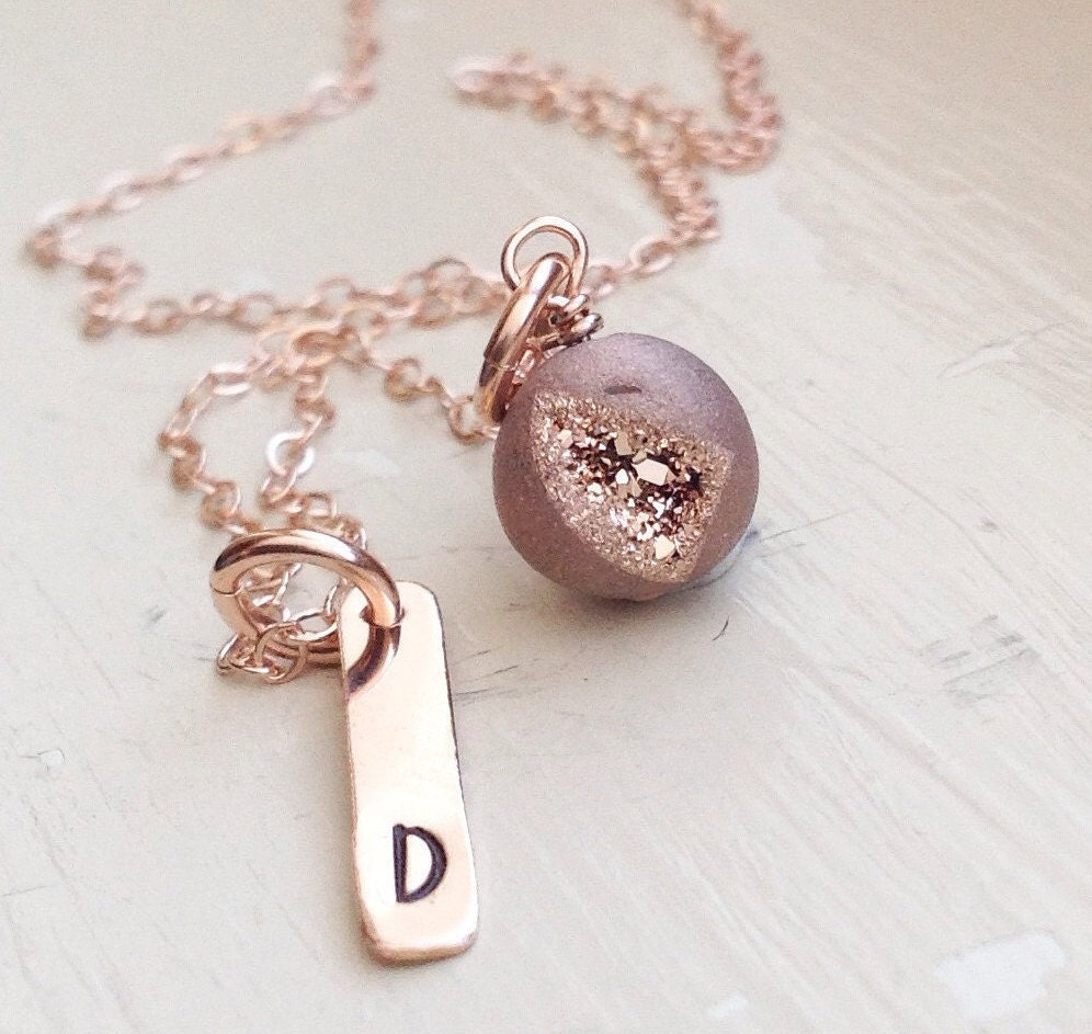 rose gold initial bar necklace druzy agate monogram name gift