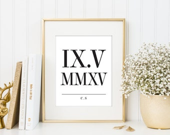 Wedding Date Print, Roman Numeral Date Print, Typography, Personalized Anniversary Gift