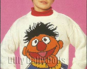 "Sesame Street Muppet Ernie Intarsia Sweater knitting pattern for children and adults in sizes 24"" - 40"" in Double Knit Yarn"