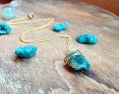 Blue Agate Druzy Necklace. Bohemian Druzy Quartz necklace. Gold plated Chain. Raw Crystal Geode Mineral Stone Pendant Natural Rock Earthy