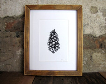 Pinecone Nature Print -Relief Linocut Print