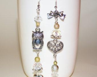Long Owl Earrings, Mismatched Earrings, Boho Earrings, Eclectic Earrings, Owl Jewelry, Kitsch Earrings, Boho Long Drop Earrings, Owl Drops