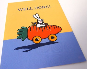 Cute Bunny Well Done You Passed Driving Blank Greeting Card