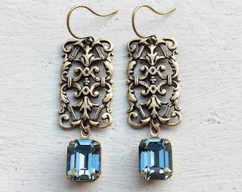 Sapphire Rhinestone Earrings/Indian Sapphire Earrings/Art Deco Earrings/Filigree Earrings/Swarovski Rhinestone Earrings/Slate Blue Earrings