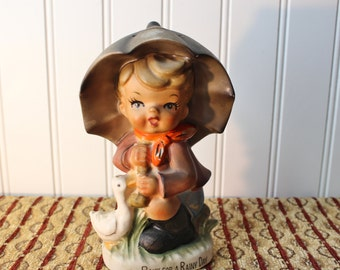 Vintage Hummel Like Bank For A Rainy Day Figurine Bank
