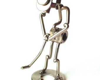 Vintage Novelty Golf Figurine Made From Nuts and Bolts and Nails