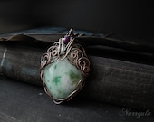 Green pendant, statement pendant, mint green Agate necklace, copper pedant for her, wire wrapped pendant