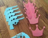 Party Pins: Guns or Glitter Gender Reveal Baby Shower - Die Cut Pink Girl Crown & Blue Boy Pistol Rifle vote game