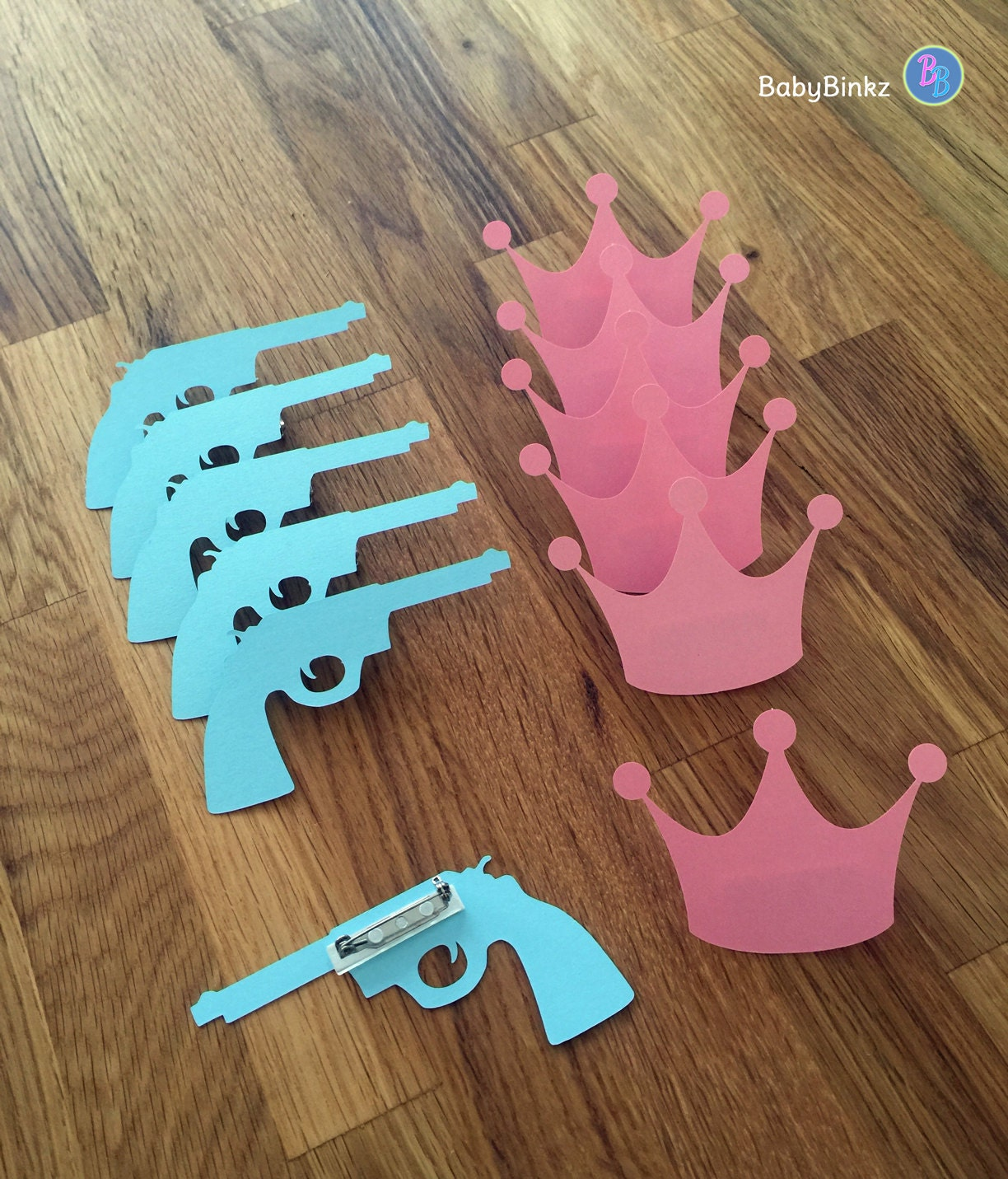 Baby Shower Reveal Party: Party Pins: Guns Or Glitter Gender Reveal Baby Shower Die