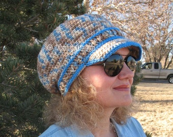 Crochet Pattern 071 -Crochet Hat Pattern - Crochet Newsboy Hat - Visor Slouchy Hat Pattern - Toddler Child Teen Adult Girls Boys Ladies Men