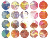 Mono Print Mixed Media Stickers 3 - Round