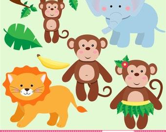 Jungle Clip Art Set - Monkey Clip Art - Elephant Clip Art - Lion Clip Art - Jungle Graphics - Jungle Digital Art - Instant Download
