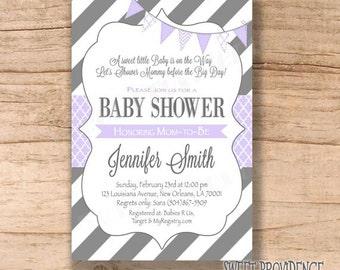 Baby Shower Invitation / Purple Grey Baby Shower invitation / Purple Lavender/Grey Invitation