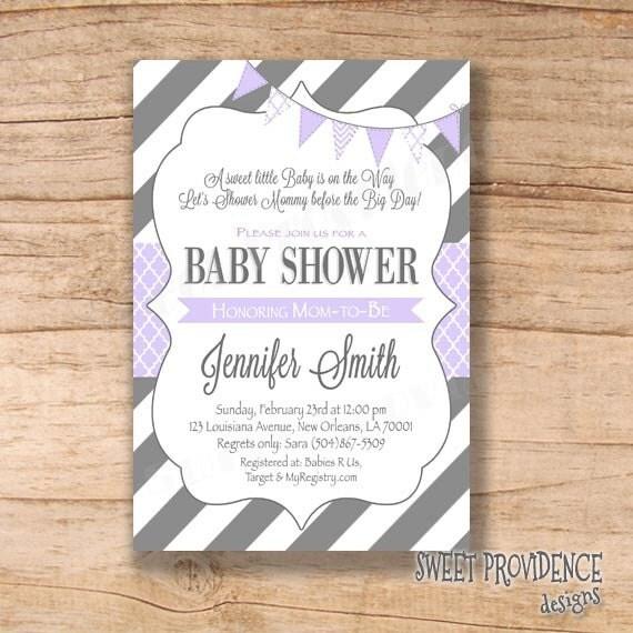 Baby Shower Invitation / Purple Grey Baby Shower Invitation