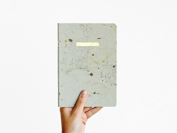 notebook - grey blue - letterpress printed gold - NOTBGA5001