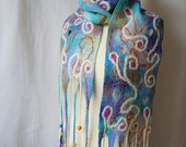 SALE Distant shore. Soft wet felted art scarf in shades of blue and green, unique pure 100% wool garment