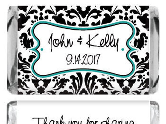 Teal & Black Damask Elegant Miniature Wedding Candy Bar Favors