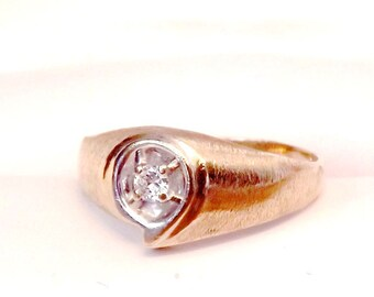 Diamond Solitaire 14K Ring - Mens - Women's- Yellow Gold- Free Shipping